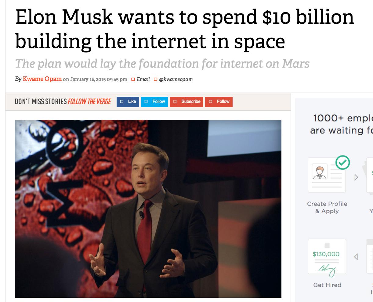 Elon Musk announces Space Internet